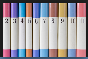 row of numbered book spines